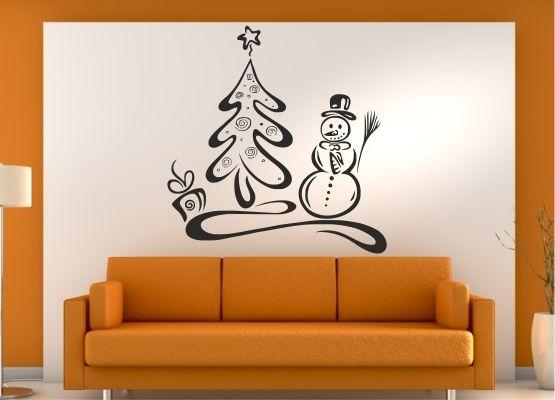 wandtattoo weihnachten schneemann mit tannenbaum. Black Bedroom Furniture Sets. Home Design Ideas