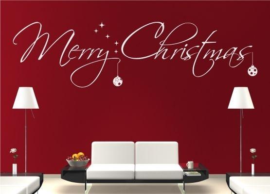 Wandtattoo weihnachten merry christmas mit kugeln for Wandtattoo weihnachten