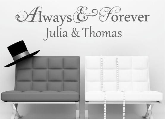 wandtattoo hochzeit always and forever mit namen. Black Bedroom Furniture Sets. Home Design Ideas