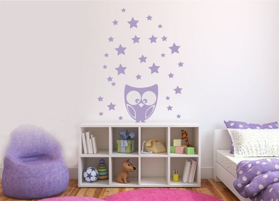 wandtattoo kinderzimmer eule sterne set. Black Bedroom Furniture Sets. Home Design Ideas