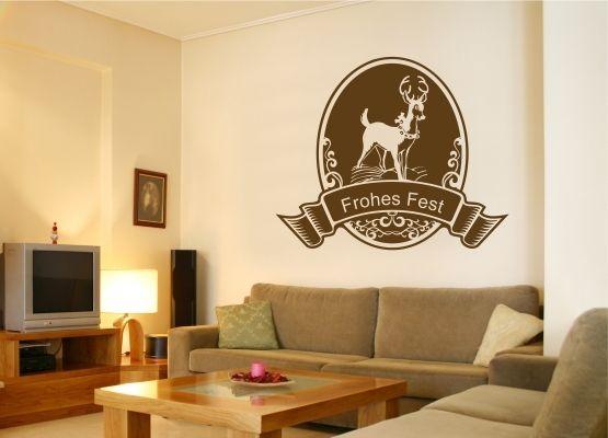 wandtattoo weihnachten ornament mit rentier. Black Bedroom Furniture Sets. Home Design Ideas