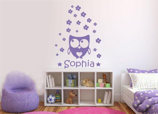Wandtattoo Blumen Kinderzimmer :  » Für Mädchen » Wandtattoo Eule mit Herz  Blumen Set mit Name