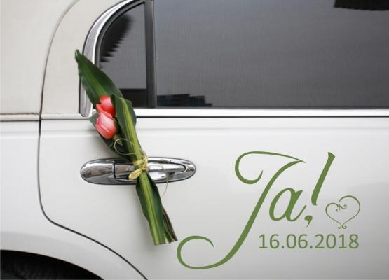 Autoaufkleber Hochzeit Ja Mit Herz Und Datum