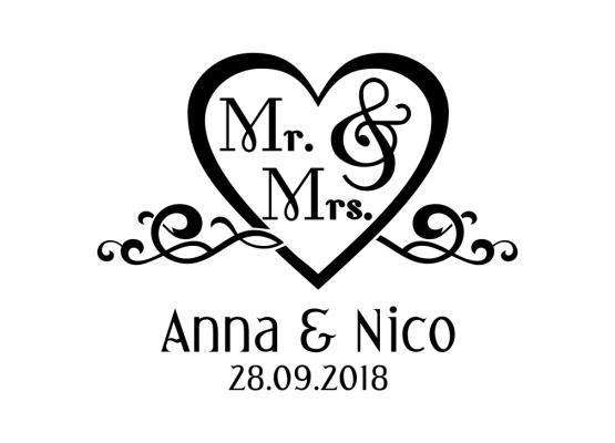 Autoaufkleber Hochzeit Herz Mit Mr And Mrs