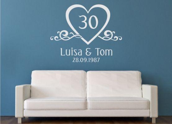 wandtattoo perlen hochzeit mit namen und datum. Black Bedroom Furniture Sets. Home Design Ideas