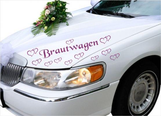 Autoaufkleber Hochzeit Brautwagen Mit Herzen 11er Set