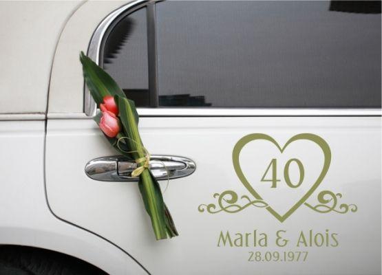 Autoaufkleber Hochzeit Rubin Hochzeit Mit Namen Und Datum