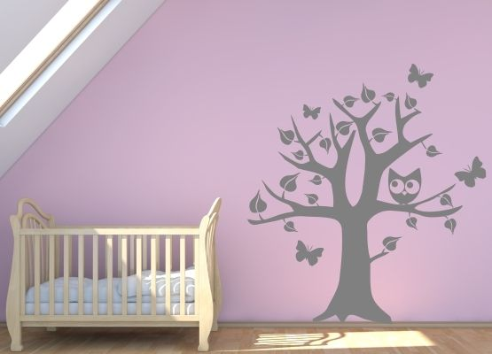 wandtattoo kinderzimmer eule und blumen set mit name. Black Bedroom Furniture Sets. Home Design Ideas