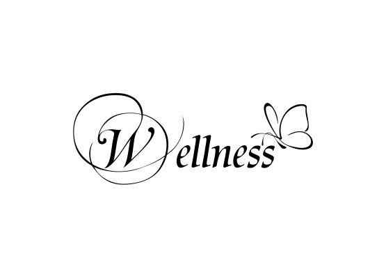 Wellness schriftzug  Wandtattoo Sprüche - Wellness mit filigranem Schmetterling