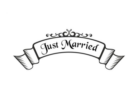 autoaufkleber hochzeit just married banner. Black Bedroom Furniture Sets. Home Design Ideas