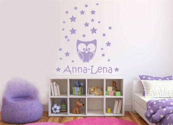 Wandtattoo Kinderzimmer - Eule Sterne Set mit Name