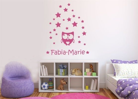 Wandtattoo Kinderzimmer - Eule mit Herz Sterne Set mit Name