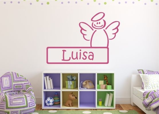 wandtattoo kinderzimmer t raufkleber engel mit name. Black Bedroom Furniture Sets. Home Design Ideas
