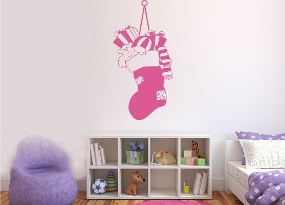 wandtattoo weihnachten nikolaussocke an schnur. Black Bedroom Furniture Sets. Home Design Ideas