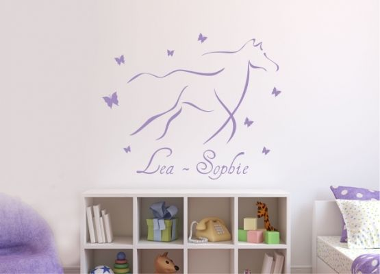 wandtattoo kinderzimmer pferd mit kindernamen. Black Bedroom Furniture Sets. Home Design Ideas