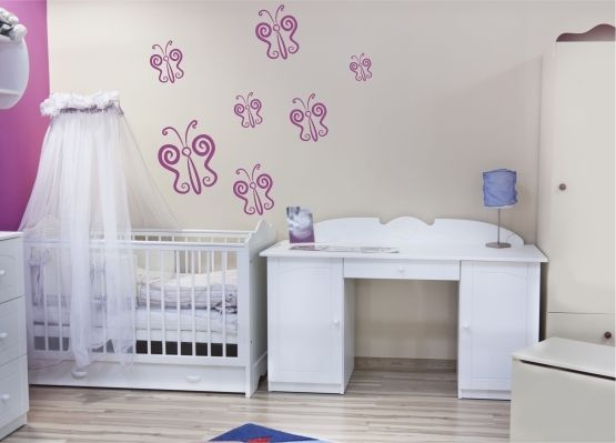 wandtattoo kinderzimmer zierlicher schmetterling 20er set. Black Bedroom Furniture Sets. Home Design Ideas