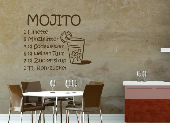 wandtattoo k che cocktail rezept mojito. Black Bedroom Furniture Sets. Home Design Ideas