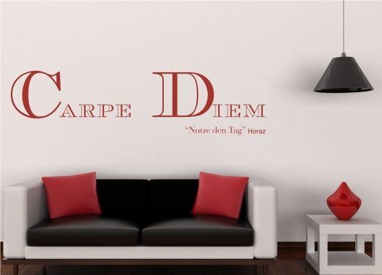 wandtattoo spr che carpe diem nutze den tag. Black Bedroom Furniture Sets. Home Design Ideas