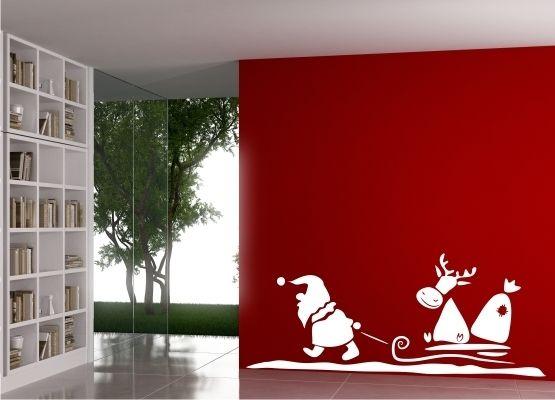 Wandtattoo weihnachten santa claus rentierschlitten for Wandtattoo weihnachten