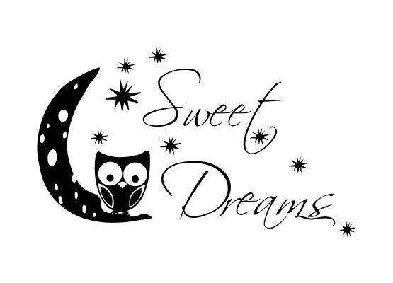 wandtattoo kinderzimmer eule sweet dreams. Black Bedroom Furniture Sets. Home Design Ideas