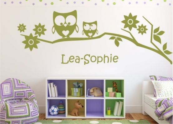 wandtattoo kinderzimmer eulen auf ast mit name. Black Bedroom Furniture Sets. Home Design Ideas