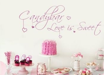 Wandtattoo Hochzeit Candy Bar Love is Sweet