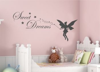 wandtattoo kinderzimmer tinkerbell mit sweet dreams. Black Bedroom Furniture Sets. Home Design Ideas
